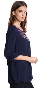 UMGEE-Womens-Navy-Chiffon-Boho-Bohemian-Chic-3-4-Sleeve-Tunic-Top-Shirt-S-M-L