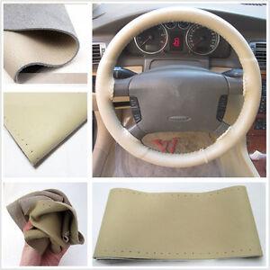 "Premium Beige Color Car Steering Wheel Cover Genuine Leather 15/""//38CM us"