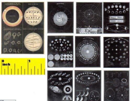 CDHM 1:12 DOLLSHOUSE Victorian 1849  Miniature Astronomy Zodiac Print Set