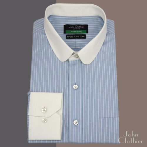Penny collar Tab collar Cotton Shirts for Men Sky Blue stripes Peaky Blinders