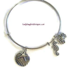 BEACH-III-Seahorse-Seashell-Crab-Adjustable-Wire-charm-bangle