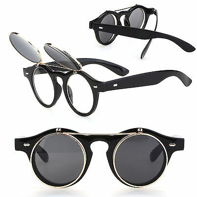 Hot Steampunk Goth Goggles Glasses Retro Flip Up Round Sunglasses Vintage Black