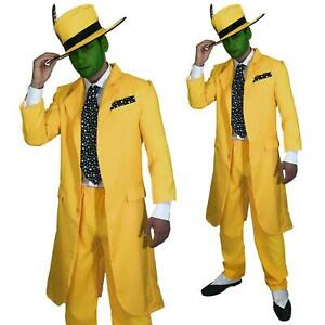 Mens-Fancy-Dress-90s-Yellow-Suit-The-Mask-Jim-Carrey-Costume-FAST-FREE-POST