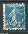 FRANCE 1907, timbre perforé 140, SEMEUSE, oblitéré PERFORE, PERFIN STAMP,