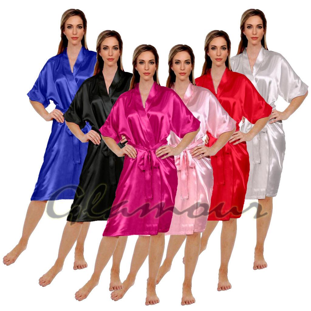 Bridal Wedding Bridesmaid Bride Gown Party Silky Satin Sleepwear Robe