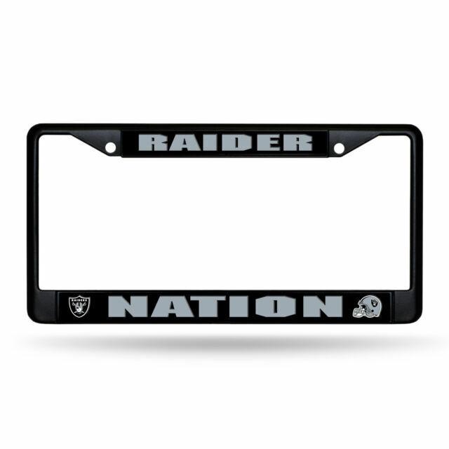 NEW Football Team Raider Nation Metal Chrome License Plate Frame 2 PC