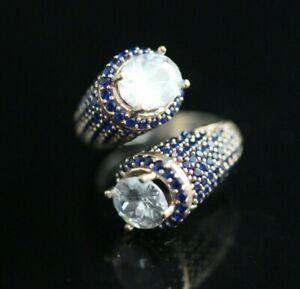 Turkish-Handmade-Jewelry-Sterling-Silver-925-Zircon-Ladies-Ring-Adjustable