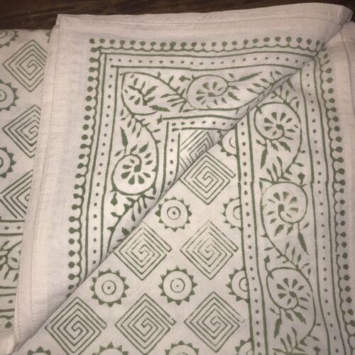 AMANDA LINDROTH NEW Batik Large Tablecloth Cotton Hand Blocked Print Green White