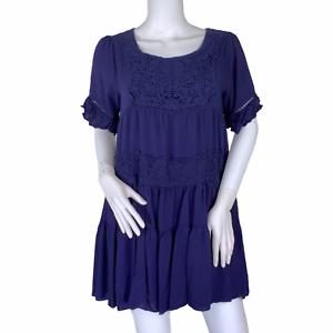 Altar'd State Blue Crochet Lace Bohemian Boho Babydoll Short Sleeve Dress Small