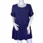thumbnail 1 - Altar'd State Blue Crochet Lace Bohemian Boho Babydoll Short Sleeve Dress Small