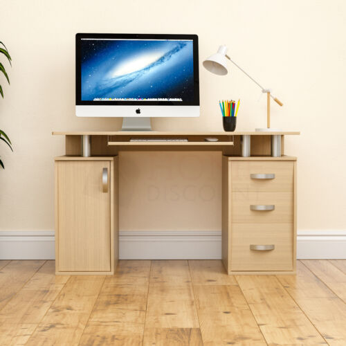 Otley Computer Desk 3 Drawer Laptop PC Table Home Office Study Workstation Pine
