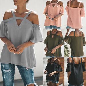 8f2471dc Women Cold Shoulder T-Shirt Loose Blouse Short Sleeve V Neck Tops ...