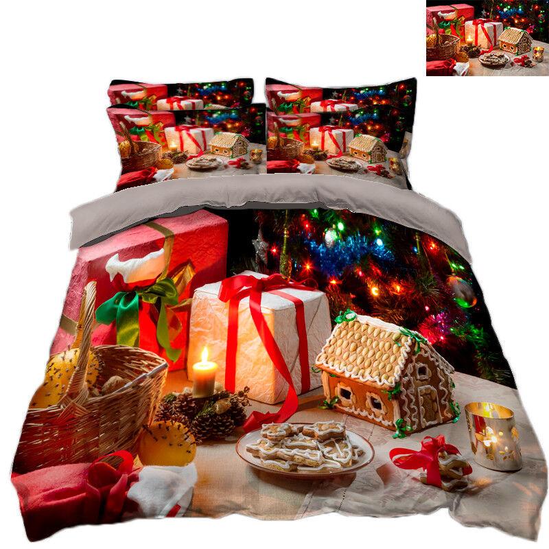 3D Christmas Xmas Gift  78 Bed Pillowcases Quilt Duvet Cover Set Single Queen UK
