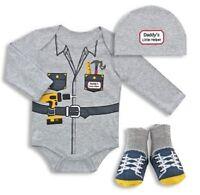 Baby Boy Clothes 3 Pc Bodysuit Set Daddy's Little Helper Shower Gift 0-9 M