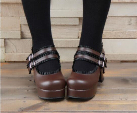 Women Round Round Round Toe Ankle Strap Lolita shoes Block High Heel Vintage shoes Sandal Cos 5b2d26