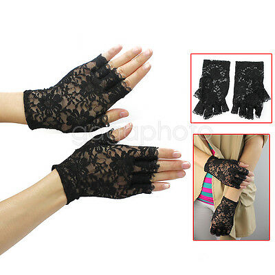 New Black Charm Sexy Lady Girl Lace Party Costume Gloves Finger Fingerless Glove
