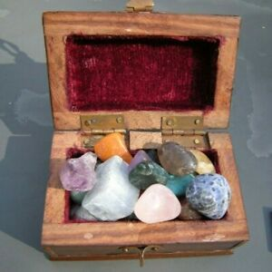 Rockhound Little Wooden Treasure Chest With 25 Tumbled and Rough Stone Treasures