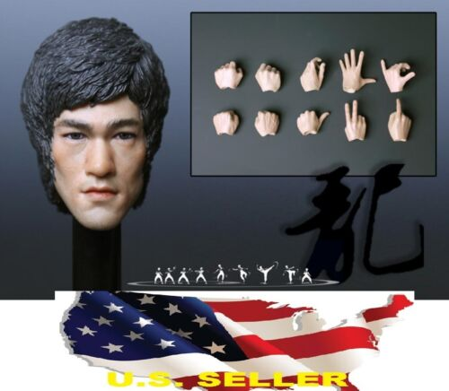 1//6 Bruce Lee Head Sculpt 5.0 avec mains pour Hot Toys Enterbay PHICEN M32 ❶ USA ❶