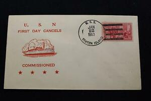 Navale-Cover-1953-Nave-Annullo-Postale-1ST-Giorno-Svc-Uss-Staten-Isola-AGB-5