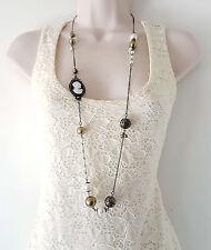 """Gorgeous 36"""" long antique - vintage gold tone art deco cameo & bead necklace"""