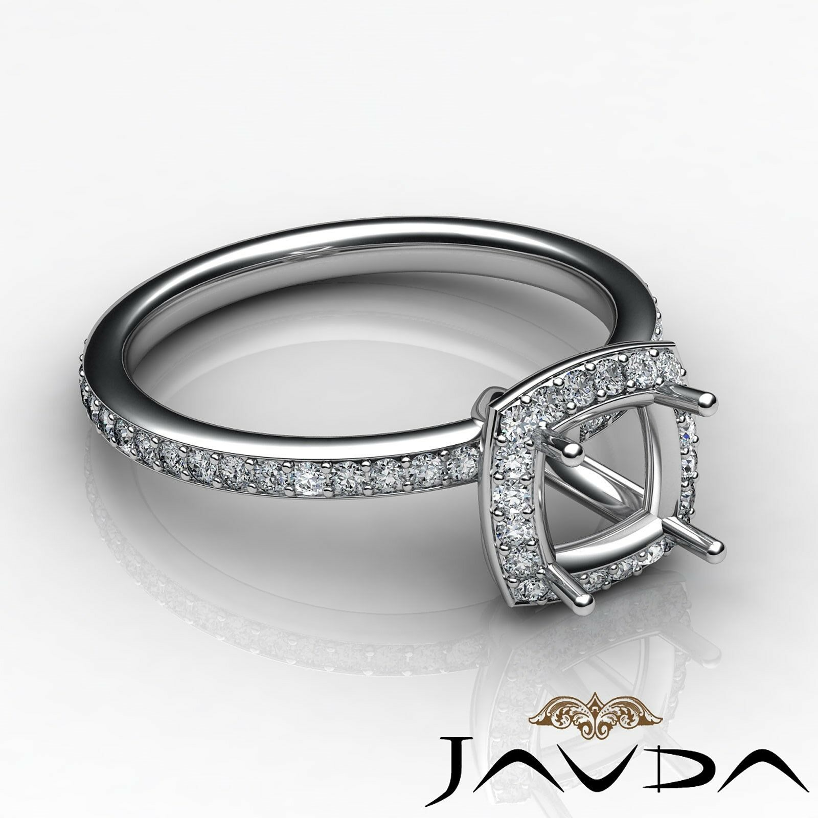 Diamond Engagement Ring Cushion Shape Semi Mount 18k White gold Halo Pave 1Ct
