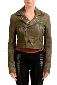 Just-Cavalli-Women-039-s-Olive-Green-Full-Zip-Leather-Jacket-US-S-IT-40