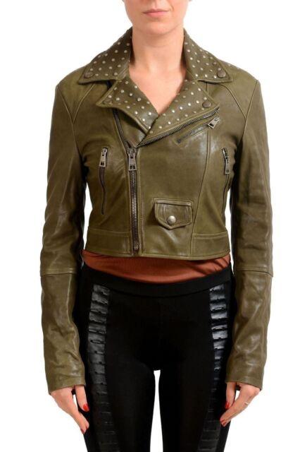Just Cavalli Women's Olive Green Full Zip Leather Jacket US S IT 40