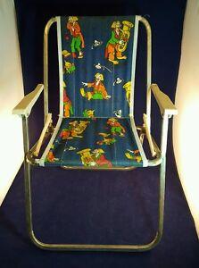 Strange Details About Vintage Retro Mid Century Childrens Canvas Aluminum Folding Lawn Chair Clowns Machost Co Dining Chair Design Ideas Machostcouk