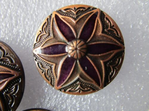 WESTERN HORSE BARREL SADDLE PURPLE SHOW FLORAL COPPER BERRY ROUND CONCHO 1-1//4