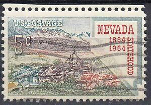 Estados-unidos-sello-con-sello-5c-nevada-Statehood-1864-1964-con-borde-superior-662