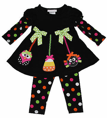Bonnie Jean Girls Owl Spider Halloween Fall Dress Outfit Legging  Set 0 3 6 9 M