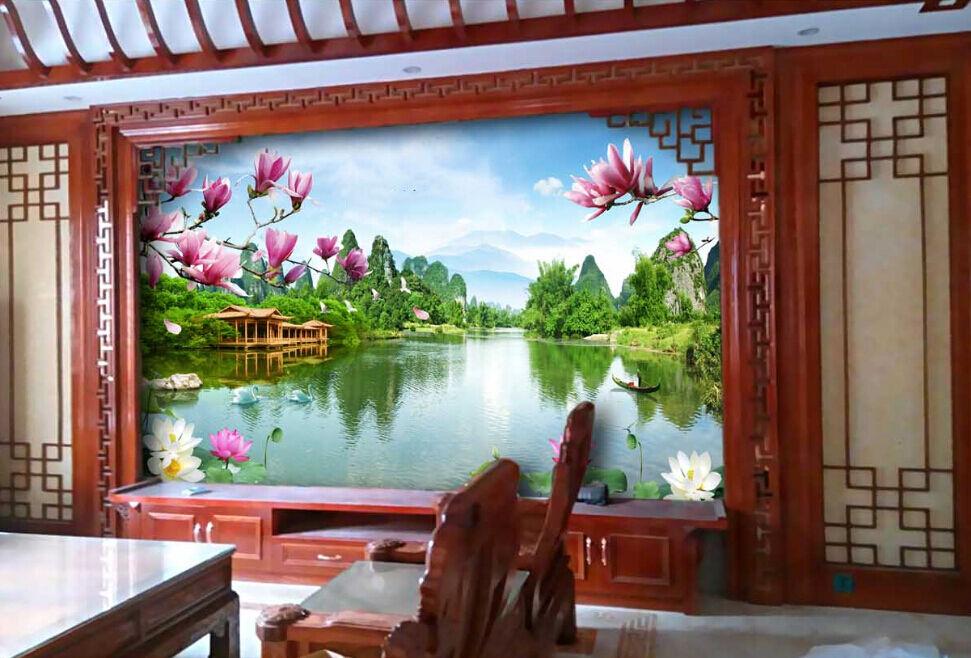 3D 3D 3D Forest River Flowers Paper Wall Print Decal Wall Wall Murals AJ WALLPAPER GB d95765