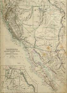 1865 ANTIQUE MAP CALIFORNIA WESTERN UNITED STATES UTAH ARIZONA SALT ...