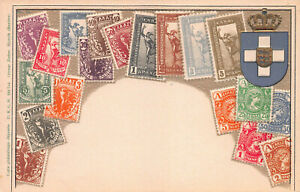 Greece-Stamps-on-Embossed-Postcard-Unused-Published-by-Ottmar-Zieher