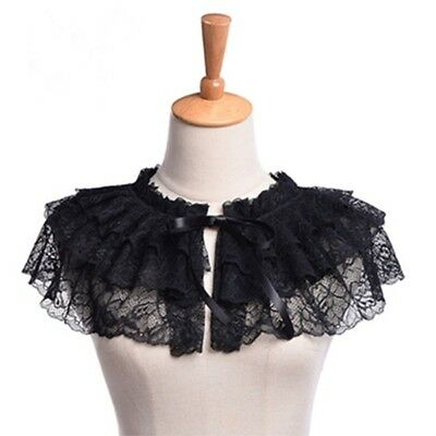 Women/'s Retro Lace Neck Ruff  Neck Collar Mini Cape  Victorian Steampunk Style