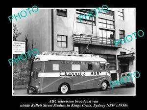 OLD-POSTCARD-SIZE-PHOTO-OF-ABC-TV-VAN-AUSTRALIAN-BROADCASTING-COMMISION-1950s