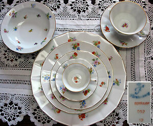 8psc-Place-Setting-Furstenberg-Germany-Plates-Cups-Saucers-B-amp-B-Dresden-Flowers
