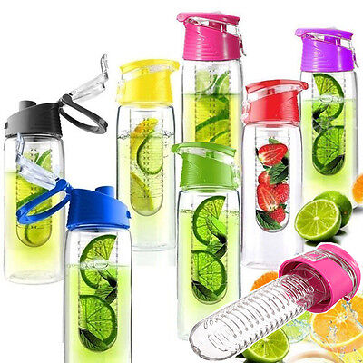 Milestone Fruit Infusion Infusing Infuser Water Bottle Sport Gym Juice Flip Cap
