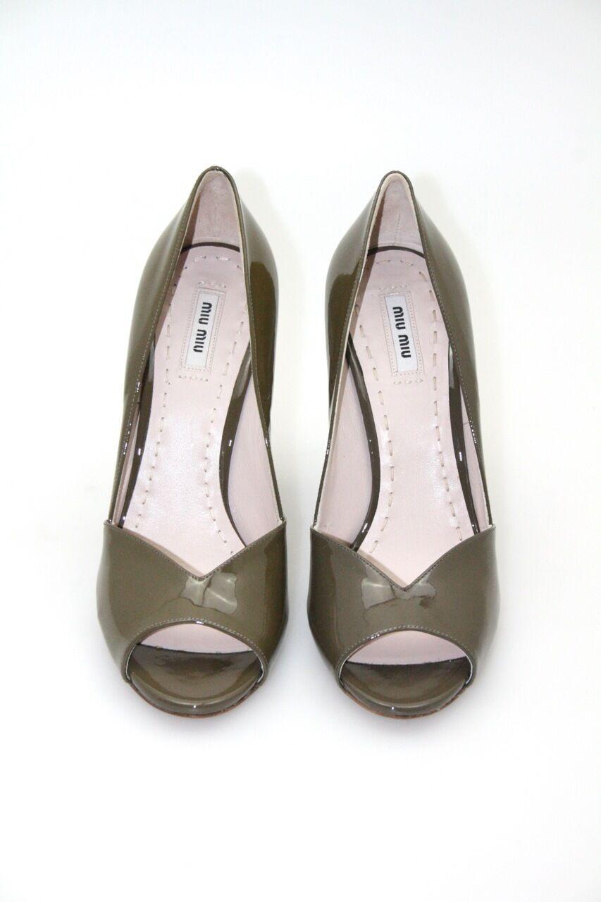 Lujo Miu Miu By Prada PEEP TOE zapatos zapatos zapatos de salón 5kp173 Argilla nuevo 40 40,5 UK 7  precioso