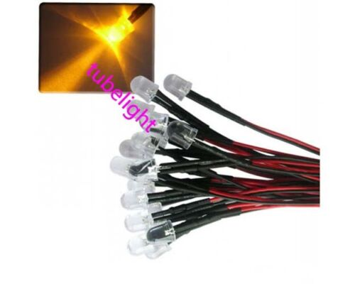 100x 12V Red Yellow Blue Green Warm White Orange purple Pink RGB 10mm Wired LED