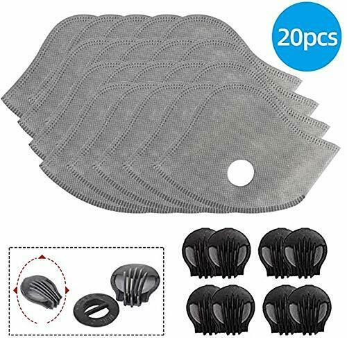 RURING 20PCS Activated Carbon Protective Filters 5 Layers Replaceable Anti-dust