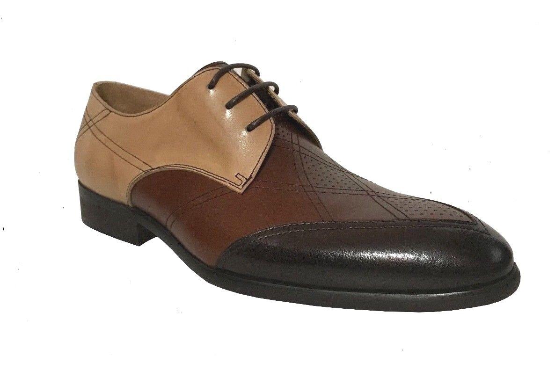 Steven Land Men's Ch.Brown Tan Latte Genuine Leather Oxford Dress shoes SL0040