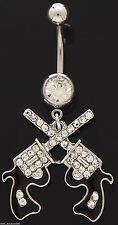 Belly Ring Pistol Handgun Double Revolver w/Clear Gems Dangle Naval Body Jewelry