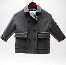 BURBERRY GIRLS' MINI MAROMOORE DOUBLE BREASTED WOOL JACKET GREY SIZE 4