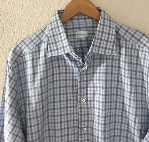 ERMENEGILDO-ZEGNA-Men-039-s-Button-Down-L-S-Casual-Plaid-Checked-Shirt-Size-46-18