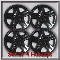 Set 4 16 Black Aftermarket Hubcaps Custom Gloss Black Wheel Covers, Free Ship