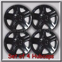 Set 4 16 Black Aftermarket Hubcaps Custom Gloss Black Wheel Covers, Free Ship