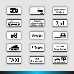 Zusatzschilder-Schilder-StVO-1048-Taxi-Wohnmobil-Panzer-Trecker-Parkschein-refl