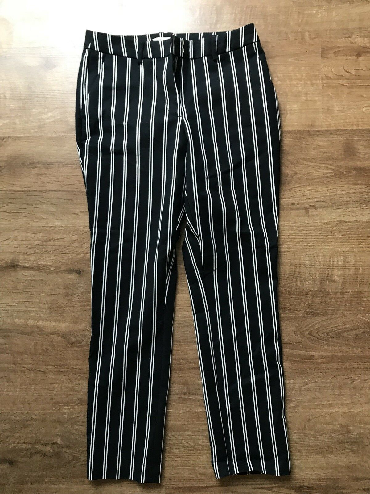 Womens Ladies Girls greenical Striped Smart Elegant Trousers Size 8 UK H&M