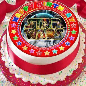 Phenomenal Star Wars Red Border Edible Happy Birthday Cake Topper Decoration Funny Birthday Cards Online Amentibdeldamsfinfo